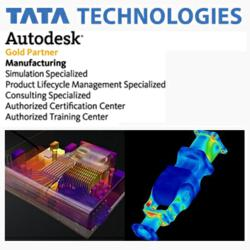 Tata Technologies logo and Autodesk Simulation 360 art