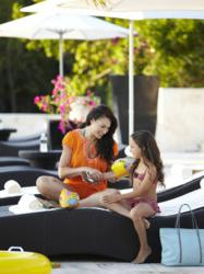 Fairmont Mayakoba Resort, Riviera Maya, Mexico- Mother and daughter by the pool