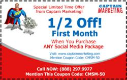 Half Off First month of Captain Marketing Social Media Services - Captain Marketing