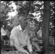 """Bill W. during annual picnic at Stepping Stones, his home, north of New York City, early 1950s"""