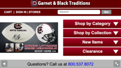 iPhone landscape view of Garnet & Black Traditions' mobile commerce site, which uses a new hybrid responsive design by UniteU Technologies.