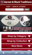 iPhone portrait view of Garnet & Black Traditions' mobile commerce site, which uses a new hybrid responsive design by UniteU Technologies.