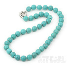 10mm blue turquoise beaded necklace with moonlight clasp