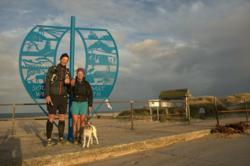 Celebrating a new record at South Haven Point, the end of the South West Coast Path