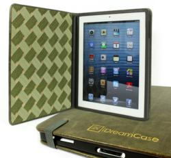 Rustic Olive Leather iPad Case with Italian Paper Inside Lining