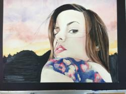 "A self-portrait by Nicole Madison, a 12th grader at Cresskill High School, which will be featured in One River Gallery's ""Art Effect"" high school art exhibition/competition on Friday, 5/31. (http://oneriverschool.com/all-events)"