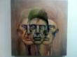 """Three Headed Man"", a painting by Dwight Englewood High School senior Jeanne Li, which will be featured in One River Gallery's ""Art Effect"" high school art exhibition/competition on 5/31. (http://oneriverschool.com/all-events)"