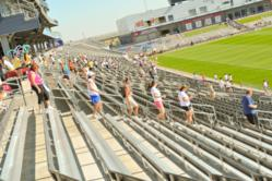 Running the stairs to raise money and awareness in 2012.