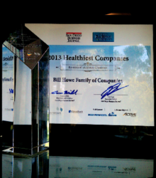 San Diego plumbing company, Bill Howe, honored with first place as one of San Diego's healthiest companies.
