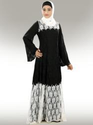 Adifaah Black and white Abaya - MyBatua.com