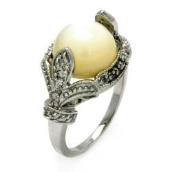 DecoSkye Fleur de Lys White Pearl Vintage Style Silver Ring