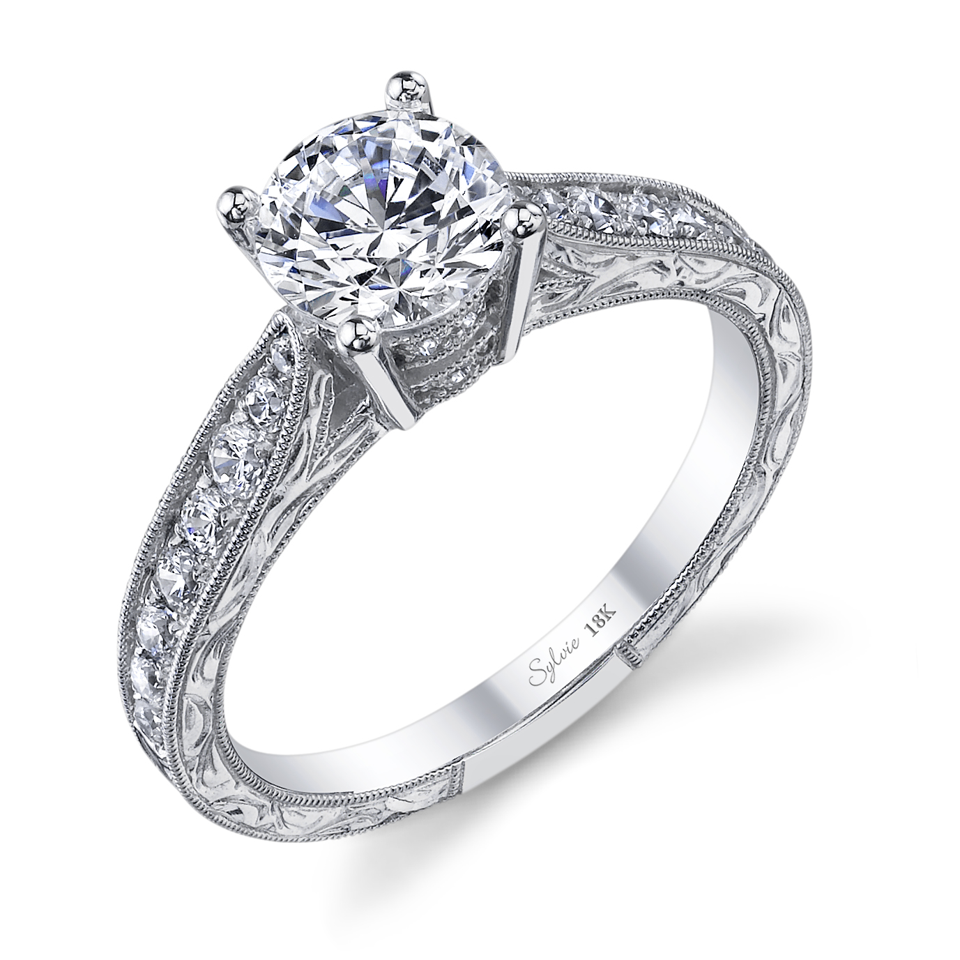 Sy982: Diamond Engagement Ring By Sylvie Collection Made With 18k White  Gold, 1 Carat Round Center Diamond And 032 Carats Of Surrounding Diamonds