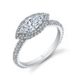 SY630: Diamond engagement ring by Sylvie Collection made with 18K white gold, 1 carat marquis cut center diamond and 0.56 carats of surrounding diamonds