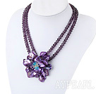 Purple Crystal and Shell Flower Necklace