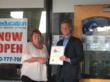 Monrovia Mayor Mary Ann Lutz welcomes C2 Education's COO Jamie Davidson