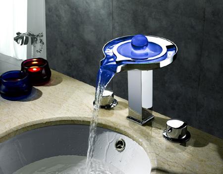 Sumerain S1305CM LED Thermal Waterfall Bathroom Sink Faucet S1007CM Single Hole