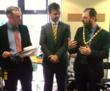 Councillor Brian White, Mayor of Milton Keynes, congratulates Carver Care on its twenty years in business