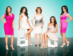 Melissa Gorga wearing a Terani P1618 dress for season 5 promo shot of Real Housewives of New Jersey