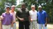 "Jermon Bushrod, Roman Harper, and one of the teams from the 2012 ""Visualize and Rize"" Celebrity Charity Golf Tournament."