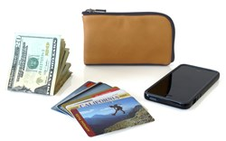 The Finn Leather Wallet—front view, Camel leather color option, with contents