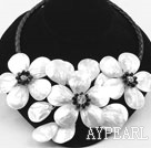 White Shell Flower Necklace with Black Imitation Leather Cord