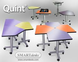 Quint supports sitting, standing, iPads, laptops and flexible arrangement.