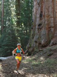 Michelle Barton, a frequent runner in Baz Hawley's trail races, runs past a Giant Seqoia in Nelder Grove during a previous Shadow of the Giants 50K.