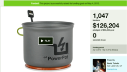 Screen capture of The PowerPot's Kickstarter campaign, which ended last May