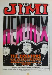 Jimi Hendrix and the Experience 1968 Sacramento State University Concert Poster