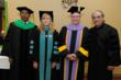 (l-r) College of Podiatric Medicine Dean Lawrence Harkless, College of Optometry Dean Elizabeth Hoppe, and College of Dental Medicine Dean Steven Friedrichsen with Commencement keynote speaker Edward