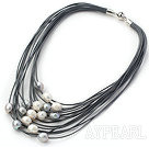 11-12mm Natural White and Gray Freshwater Pearl Gray Leather Necklace with Magnetic Clasp