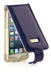 Leather iPhone 5 Flip Case in Purple Patent from Pipetto