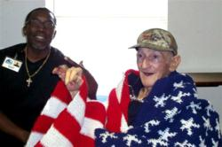 Hospice patient who is a Veteran receives care.