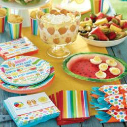Lazy Days summer tableware featuring plates, cups & napkins, & a watermelon serving platter.