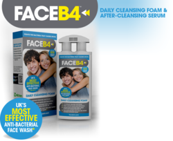 Skin care from FaceB4, face wash and face serum