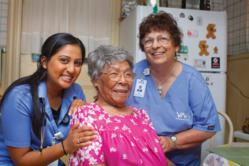 Cora Jiggetts, 105, pictured with her nurse, Hina Patel (left) and aide, Lenore Buhrig, represents the VNA's fastest growing demographic: area residents over age 80 who need long-term home care assistance.