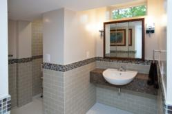 Smallest home addition makes bathroom design remodel possible for Church bathroom designs