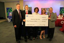 PHLY's Bill Procopio (second from left) presents $50,000 donation to officals from the American Red Cross and KYW-TV CBS 3 during Operation Brotherly Love telethon.