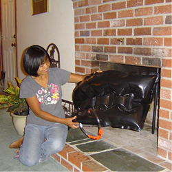 Fireplaces are big holes that let all your expensive heated and cooled air flow right out of your house. Seal fireplaces with a Fireplace Plug to stop drafts and save energy.