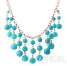 Lake Blue Candy Jade Tassel Necklace with Metal Chain
