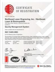 Northeast Laser & Electropolish ISO 13485 Certificate