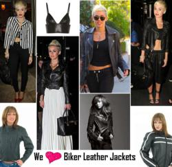 Celebs Styles We ♥: Miley Cyrus' Biker Leather Jackets