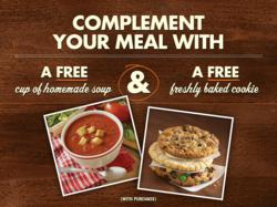 Ultimate happiness is a free cup of our homemade soup and a free freshly baked cookie.