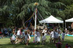 This private school in Pasadena, CA enjoys a spring afternoon entertaining grandparents and friends with a dance around the Maypole