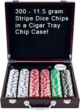 300 poker chips in a Cigar tray chip case