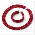 Round Red Coral Woven Beaded Set