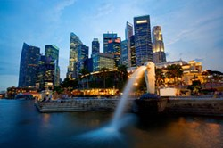 Singapore Business District Skyline at Dusk