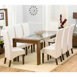 Enhance your dining room with the Arturo walnut glass top dining ...
