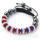 Blue White and Red Color Rhinestone and Drawstring Bracelet