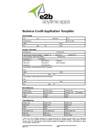 Business Account Application Form Template - Text